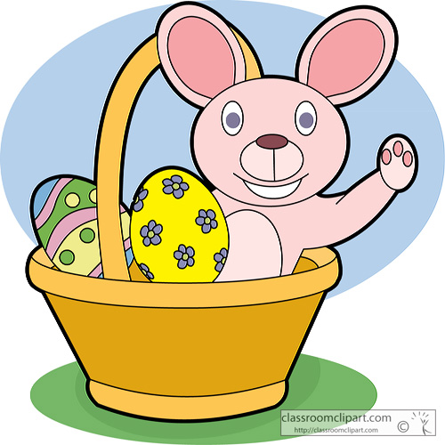 Easter Basket with Rabbit and Eggs